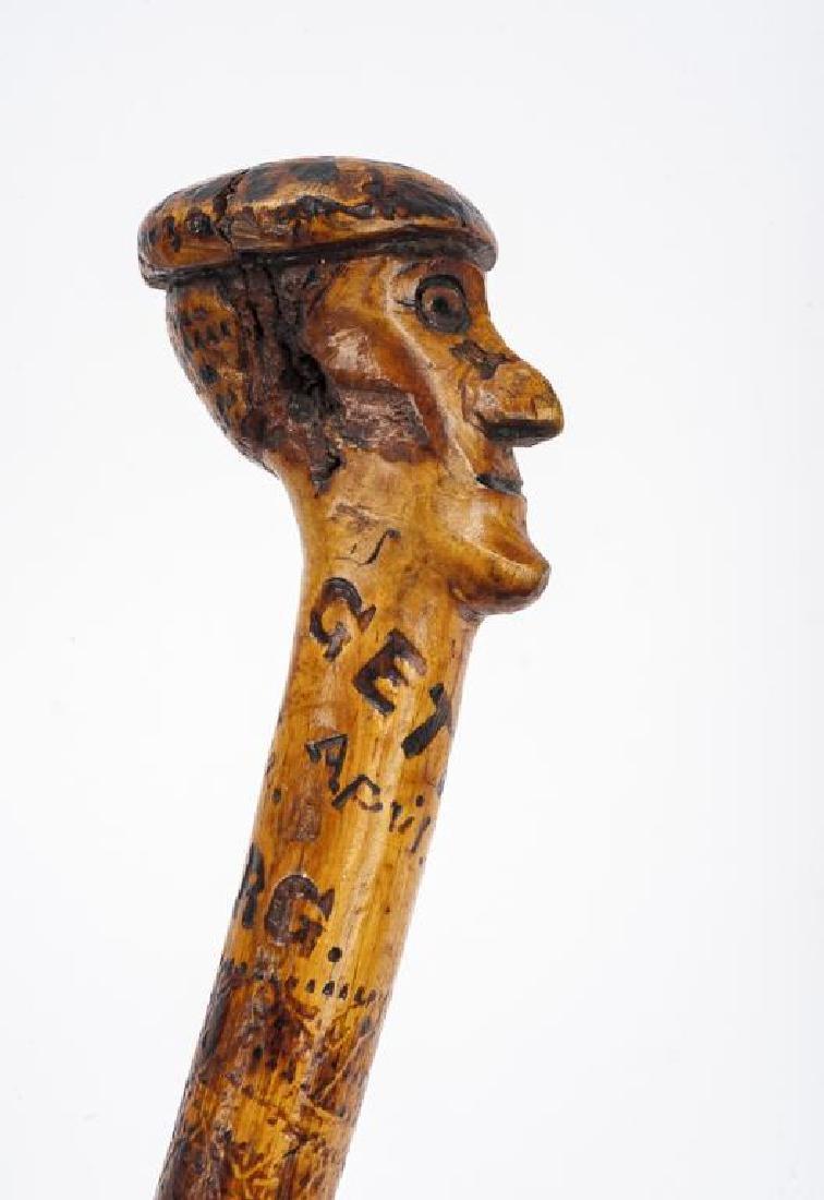 Gettysburg Carved Top Walking Cane - 3