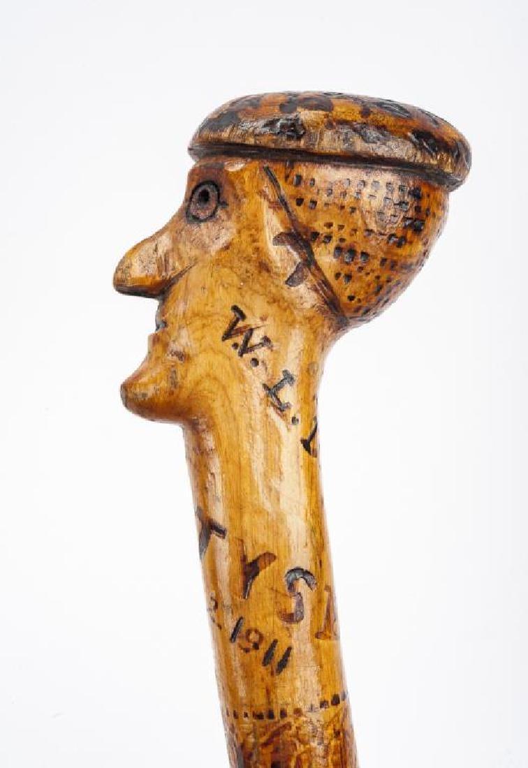 Gettysburg Carved Top Walking Cane - 4