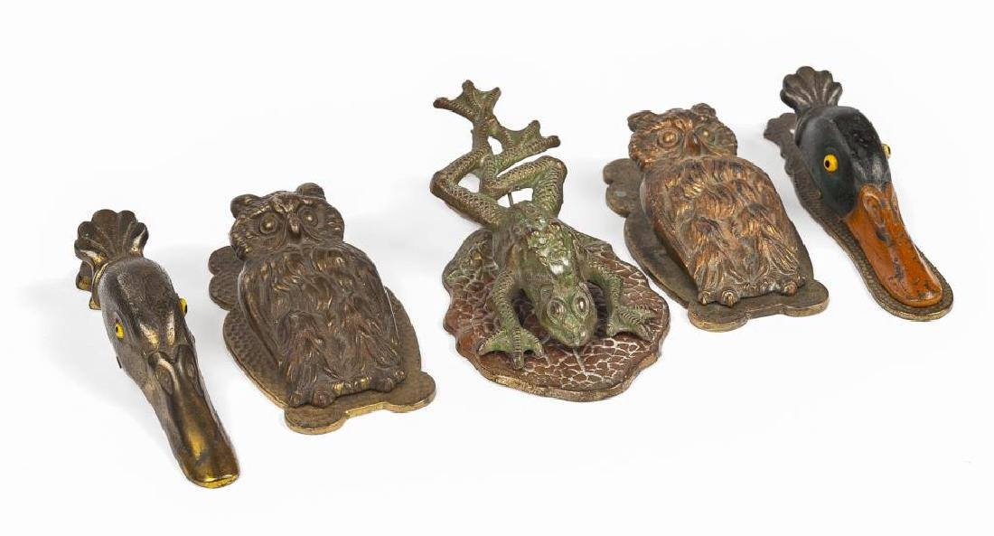 5 Victorian Cast Iron Figural Paper Clips