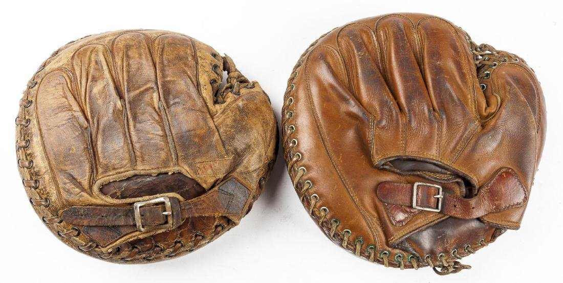 2 1920's Buckle Back Catcher's Mitts - 2
