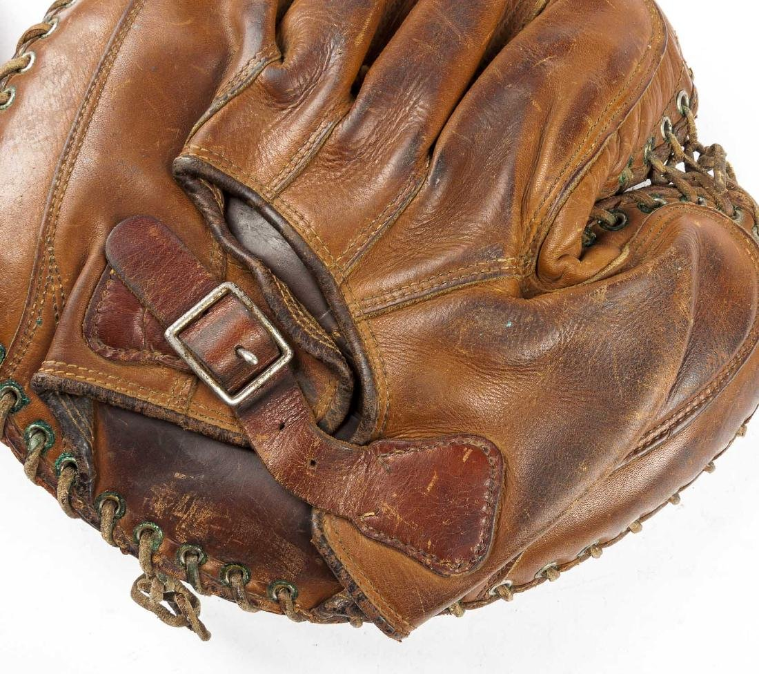 2 1920's Buckle Back Catcher's Mitts - 4