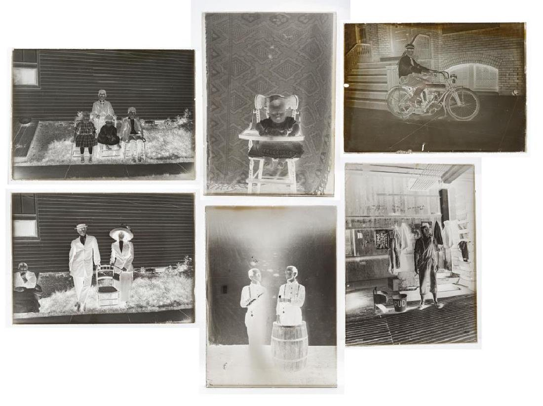 6 Silver Gelatin Glass Negatives incl Motorcycle