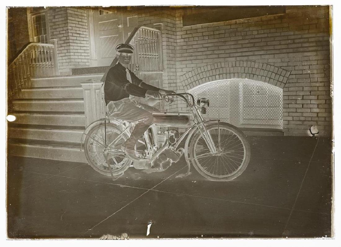 6 Silver Gelatin Glass Negatives incl Motorcycle - 4