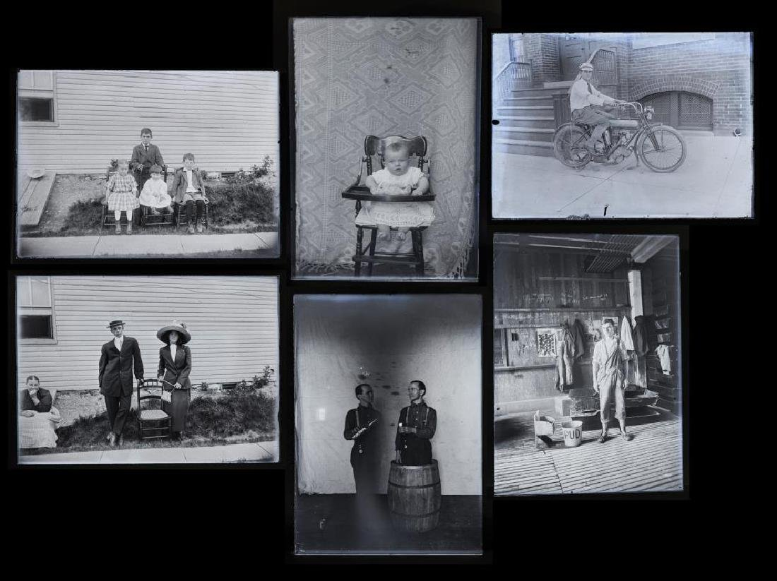 6 Silver Gelatin Glass Negatives incl Motorcycle - 8