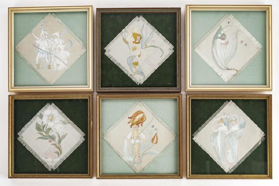 6 Flower Children Illustrations on Silk