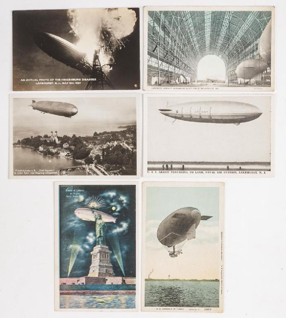 6 Zeppelin Postcards Incl Hindenburg Disaster