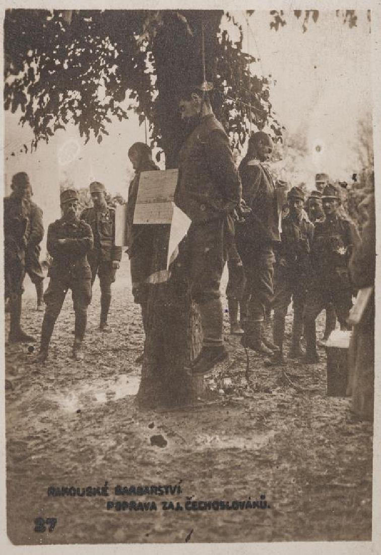 WWI Austrian Hanging Czech Postcard