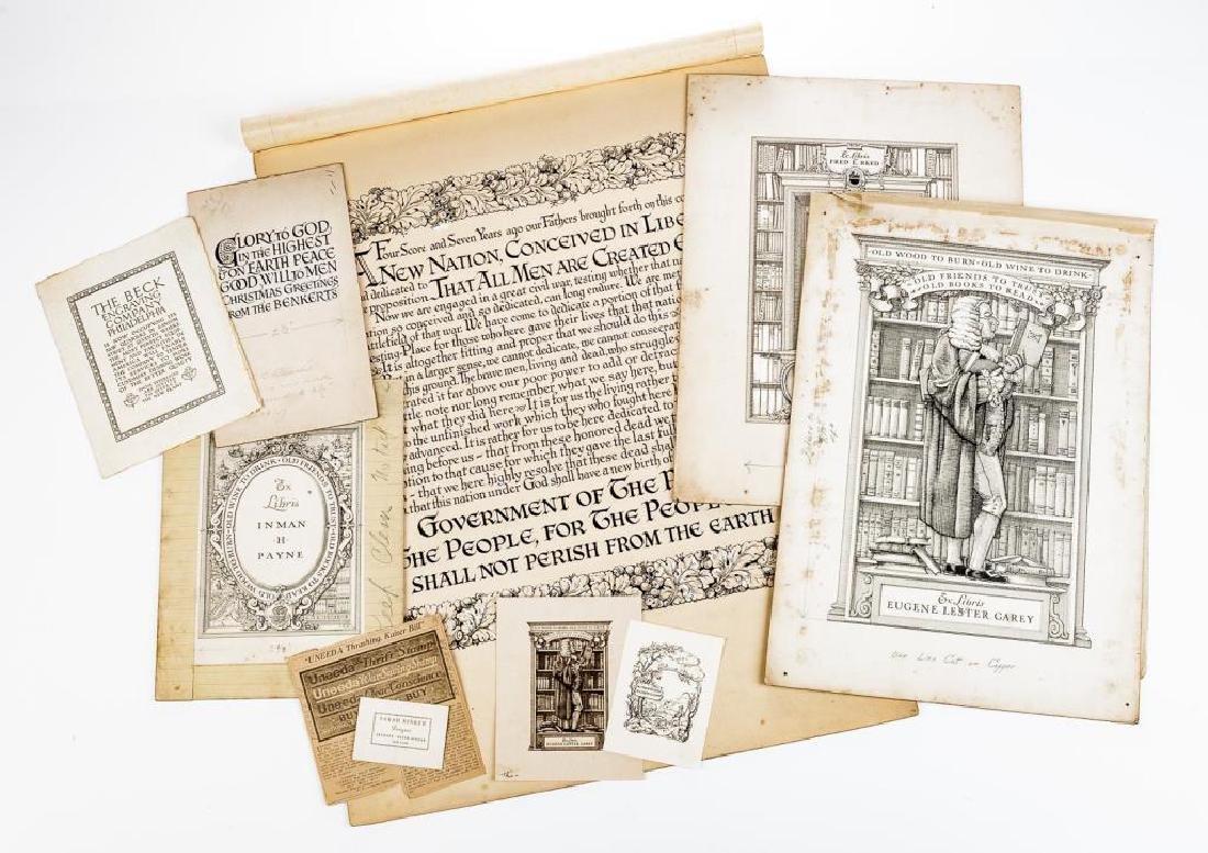 Lot of Original Drawings for Book Plates et al
