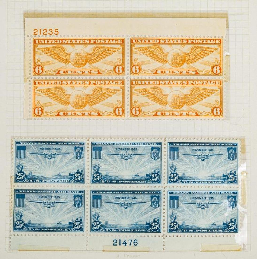 US Stamps Airmail Plate Blocks - 6