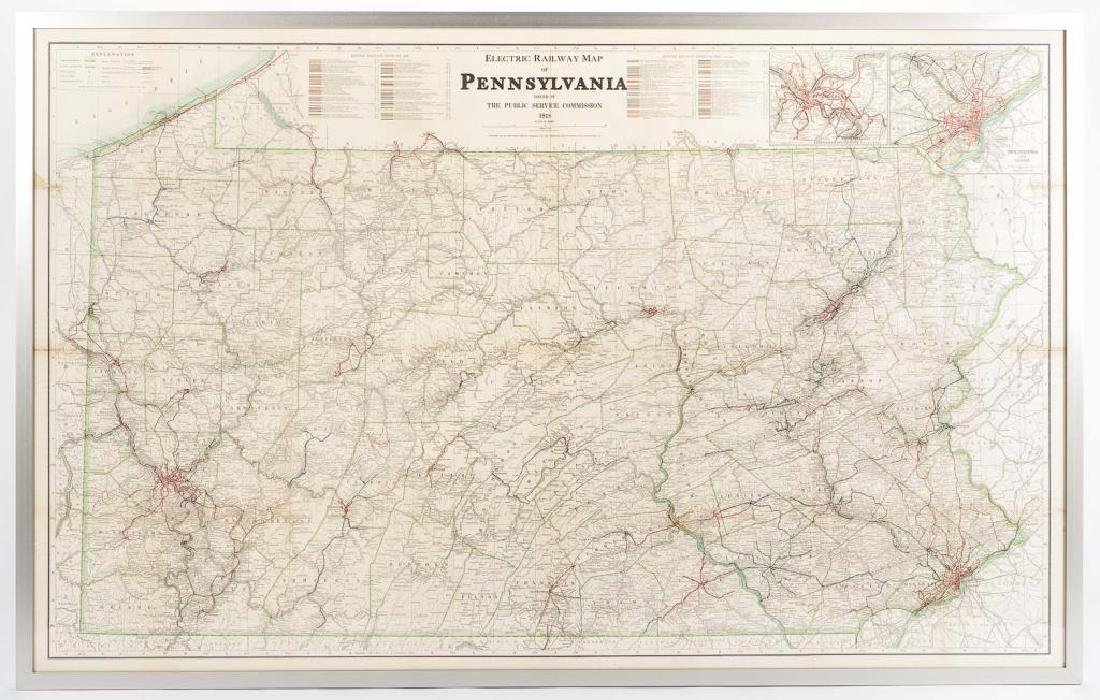 1919 Electric Railway Wall Map of Pennsylvania