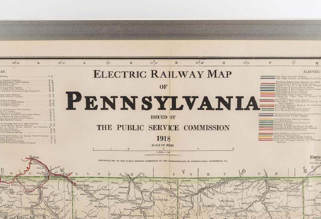 1919 Electric Railway Wall Map of Pennsylvania - 2