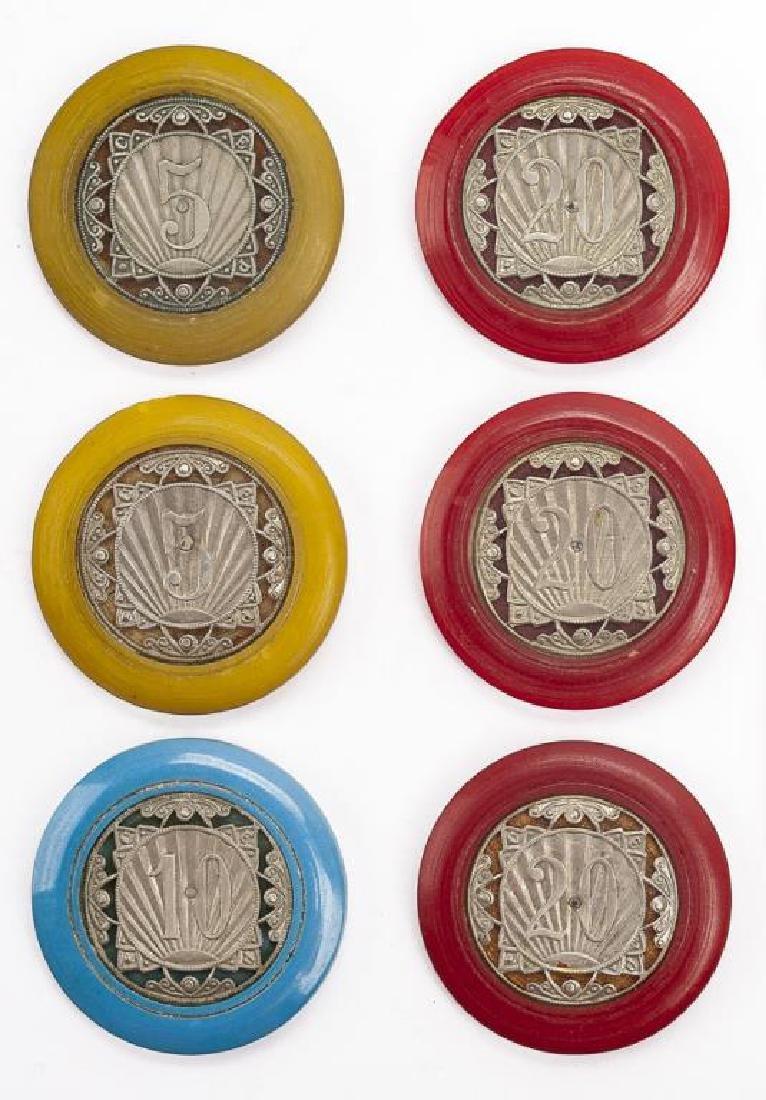 6 Vintage Monte Carlo Casino Chips