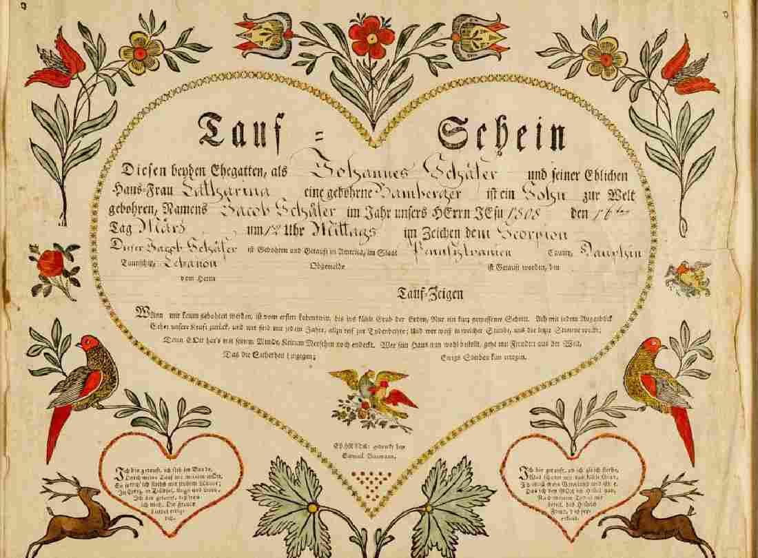 Saumuel Baumann Ephrata Taufschein