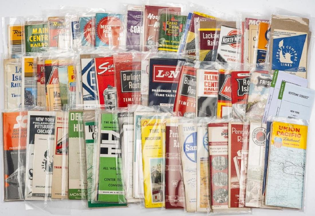 Approx. 80 Vintage Railroad Time Tables