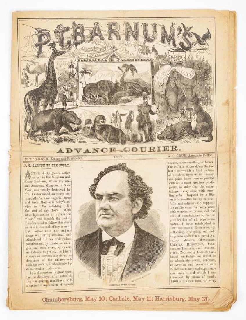 P.T. Barnum's Advance Courier Dated 1872 - 2