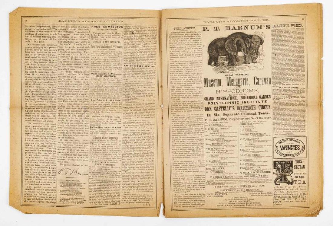 P.T. Barnum's Advance Courier Dated 1872 - 3