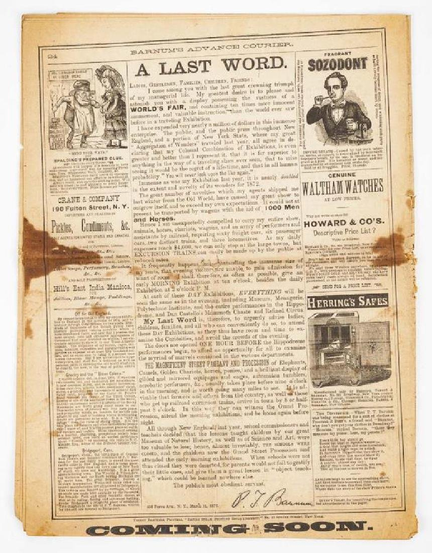 P.T. Barnum's Advance Courier Dated 1872 - 5
