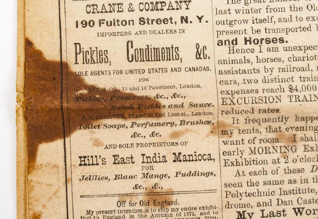 P.T. Barnum's Advance Courier Dated 1872 - 7