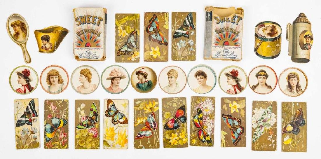 26 Kinney Bros. Tobacco Cards & 2 Cigarette Cases