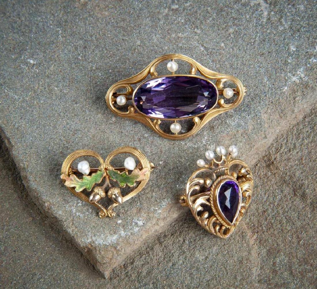 3 Victorian Gold Pins