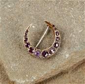 Victorian Amethyst Crescent Pin