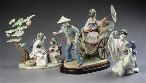 3 Lladro Porcelain Oriental Figurines in OBs