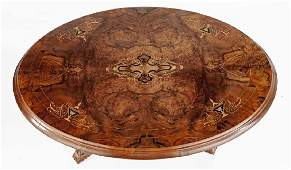 Victorian Burl Inlaid Parlor Table