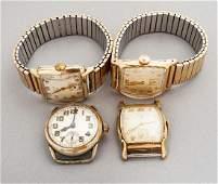 4 Vintage Elgin Wristwatches