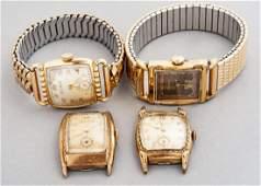 4 Vintage Bulova Wristwatches