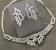 Vintage Sterling  Marcasite Necklace and Earrings