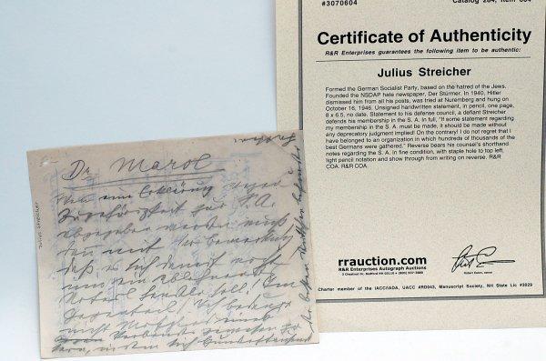 19: Julius Streicher Handwritten Statement