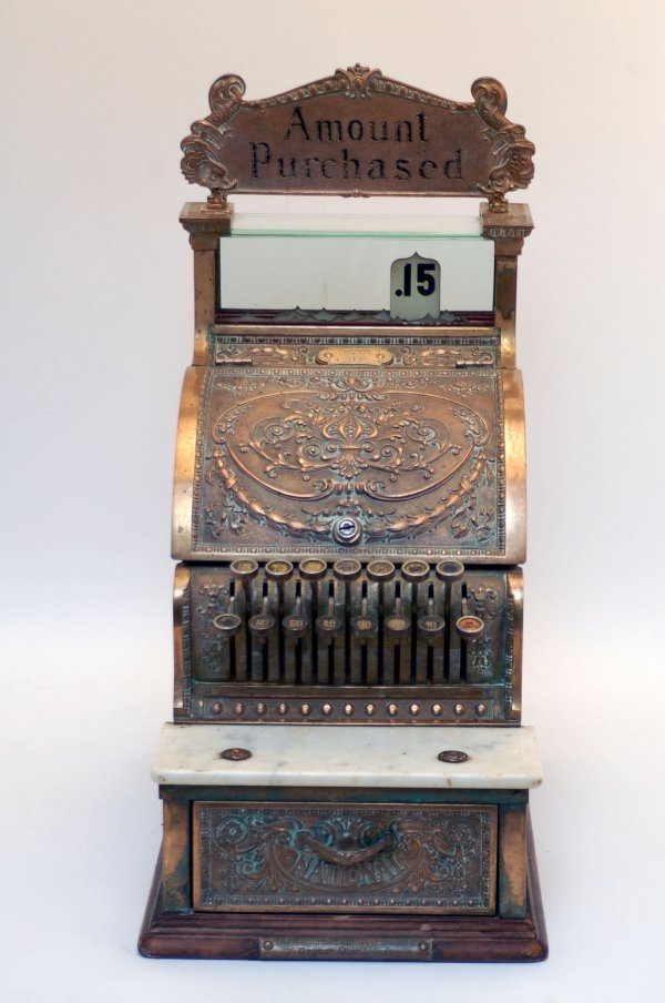 345: Late 19th C National Cash Register Co Brass Marble