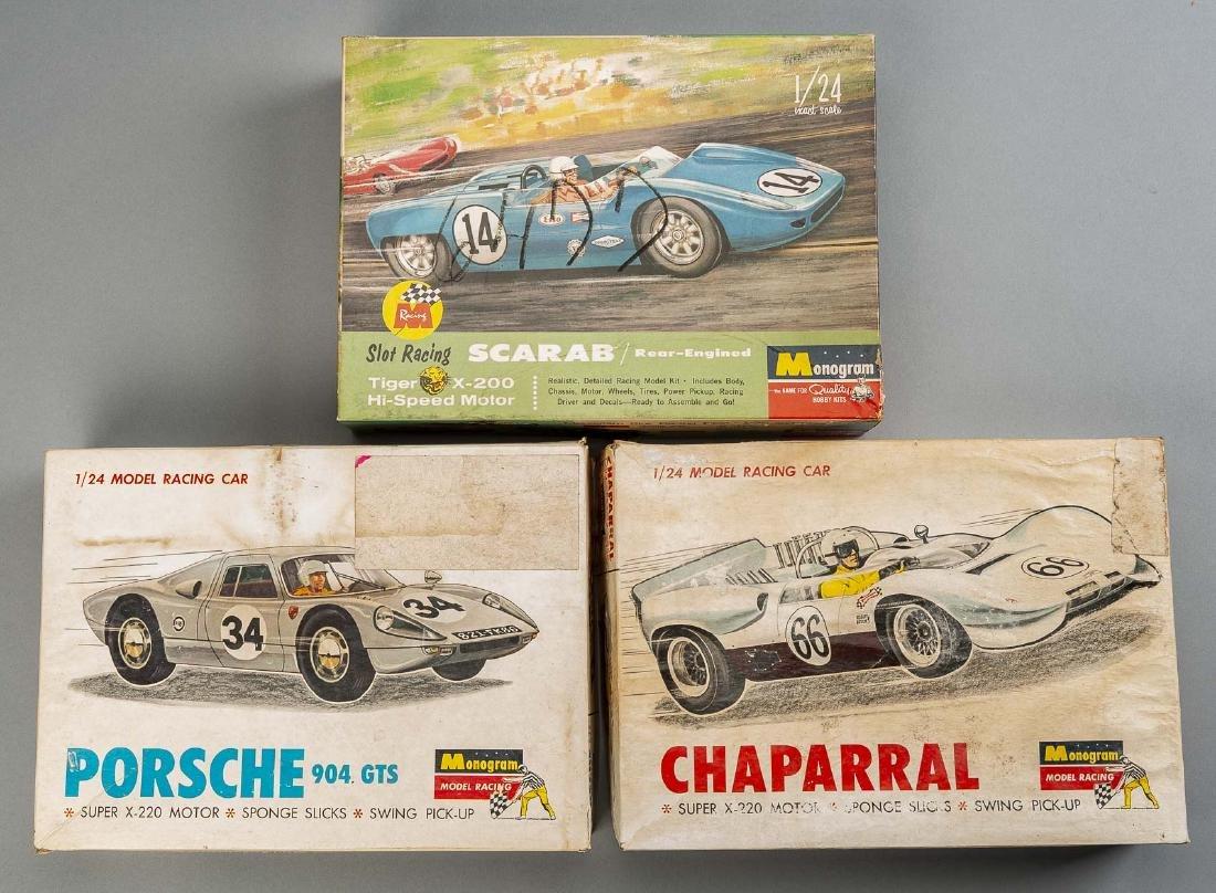 3 Vintage Monogram 1/24 Scale Built Slot Kits