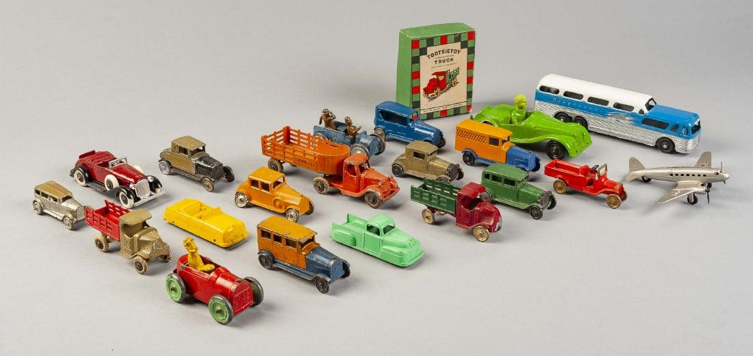 21 Tootsie Toy Vehicles Incl Bus & Plane