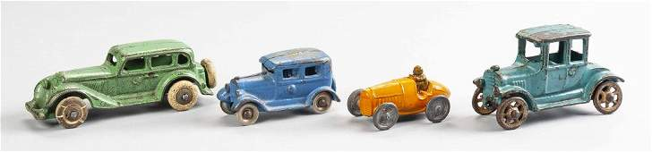4 Antique Cast Iron Cars