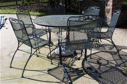 Outdoor Vintage Metal Table and 6 Chairs
