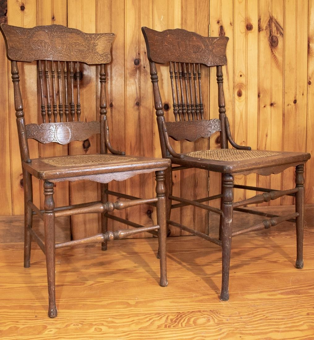 Pair Antique Side Chairs - 2