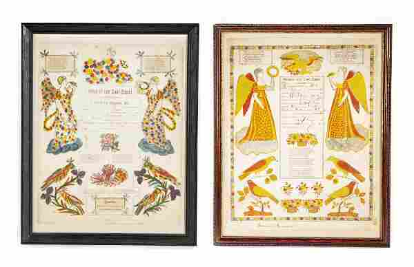 2 Pennsylvania Printed & Hand Colored Frakturs