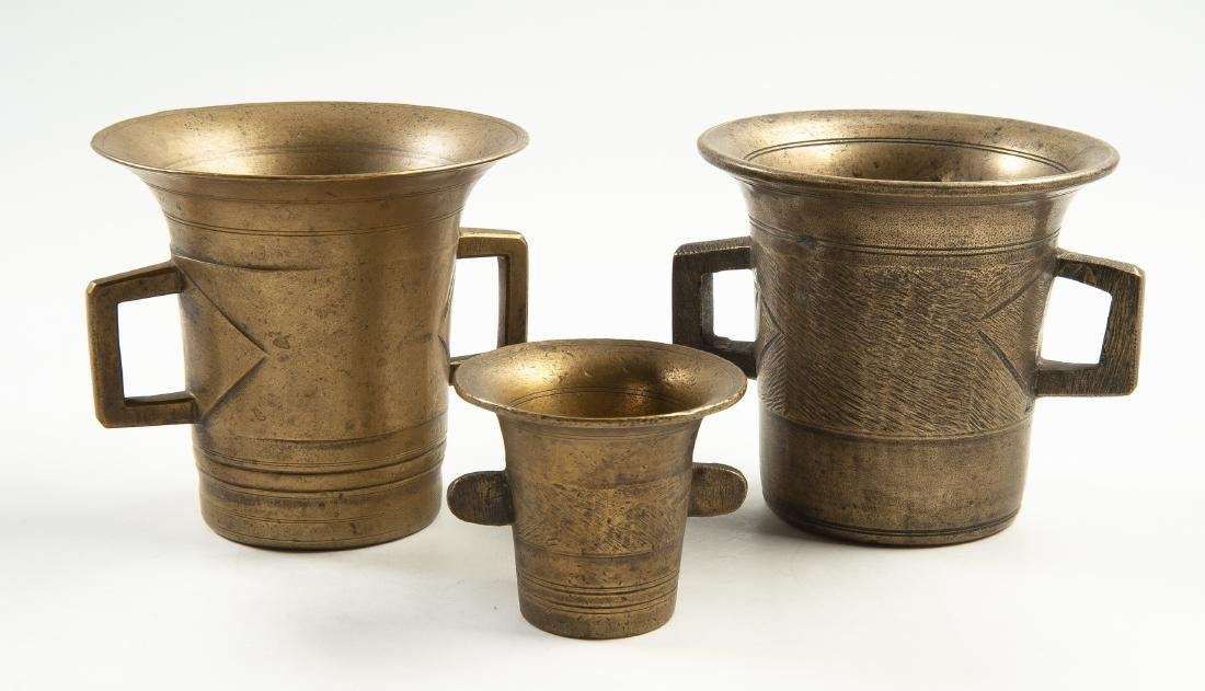 3 Brass Mortars
