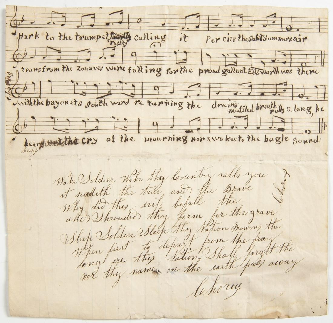 Hand Written Civil War Music Song Sheet