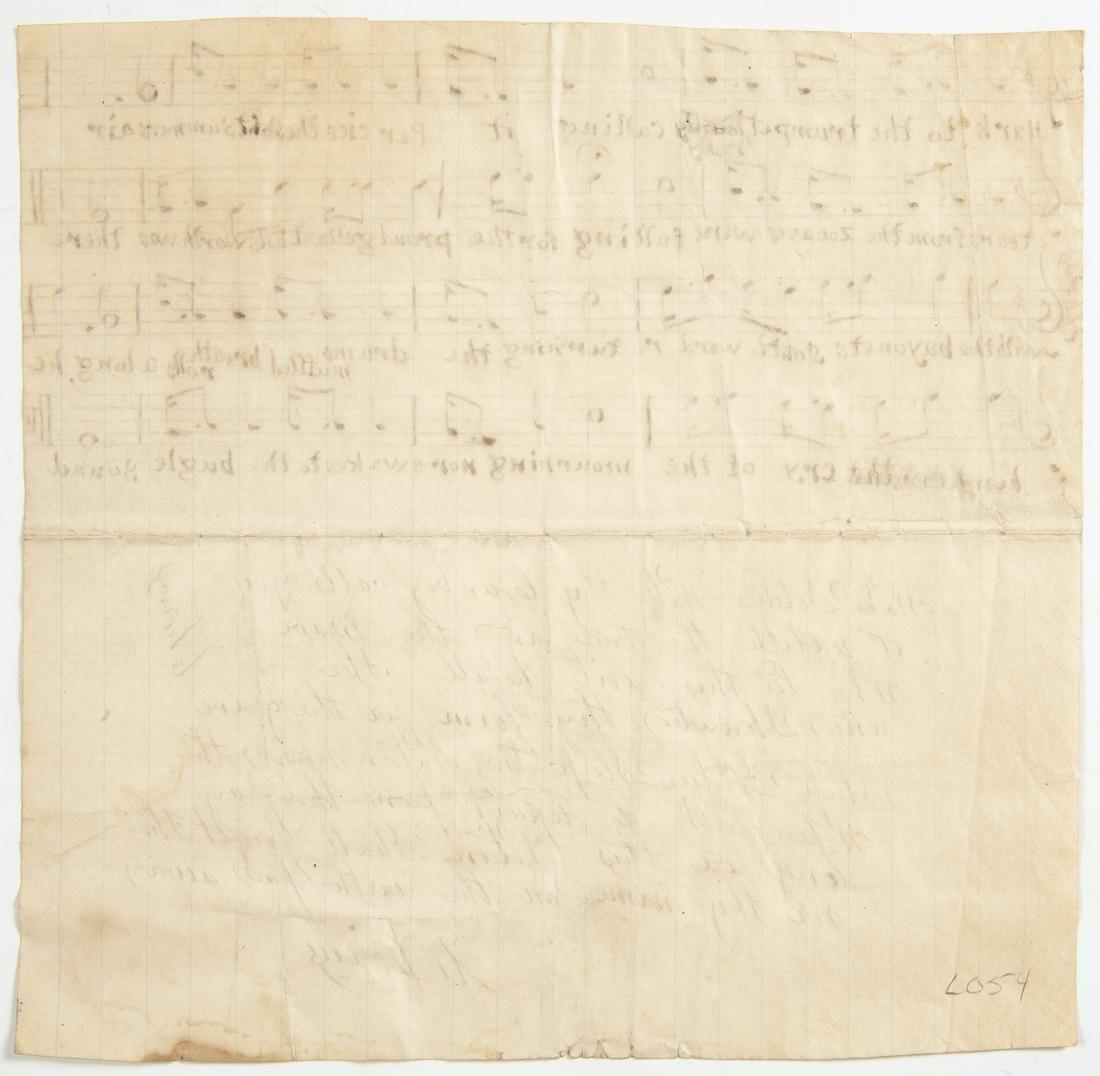 Hand Written Civil War Music Song Sheet - 2