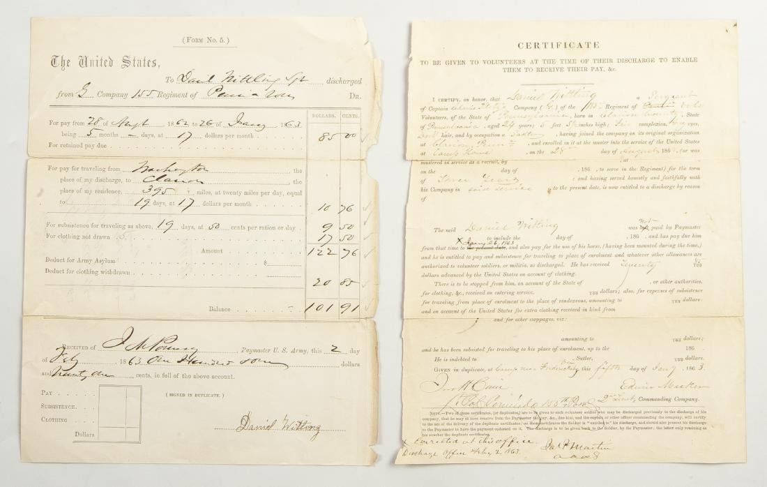 Group of Civil War Documents incl Muster Roll