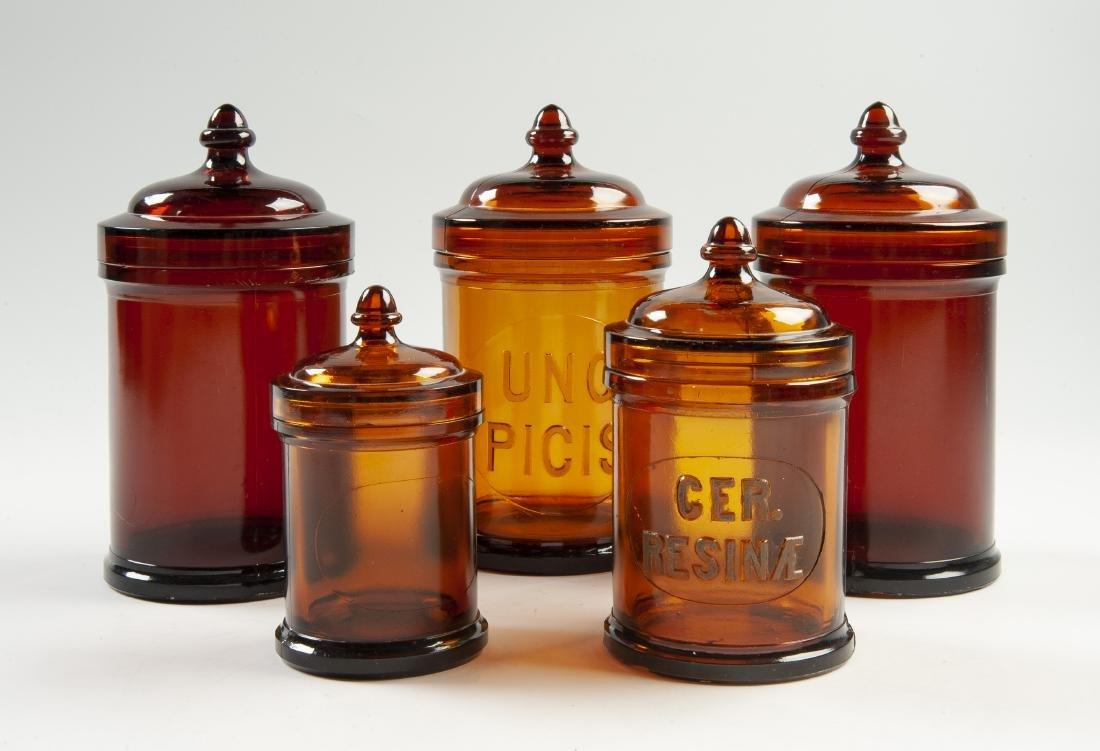 5 Amber Apothecary Jars