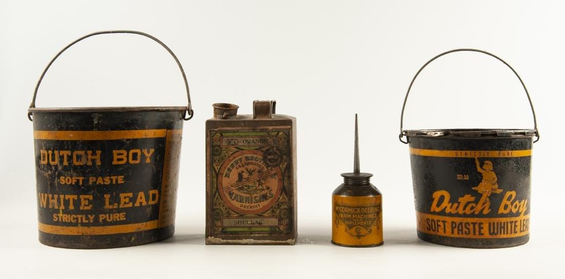 4 Vintage Tins Incl Dutch Boy Pails