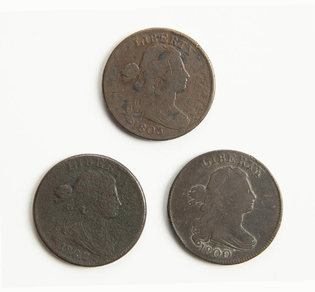 3 US Large Cents 1800-1805