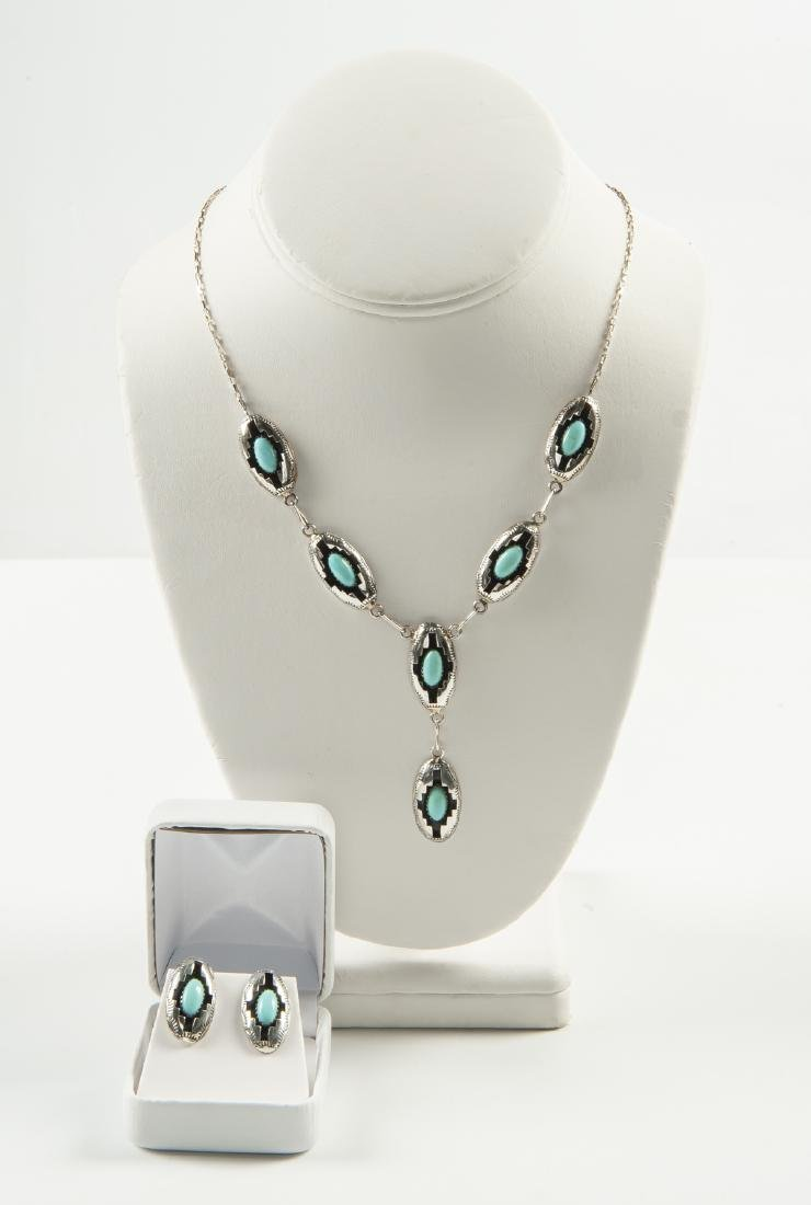 Navajo Sterling Turquoise Necklace & Earrings