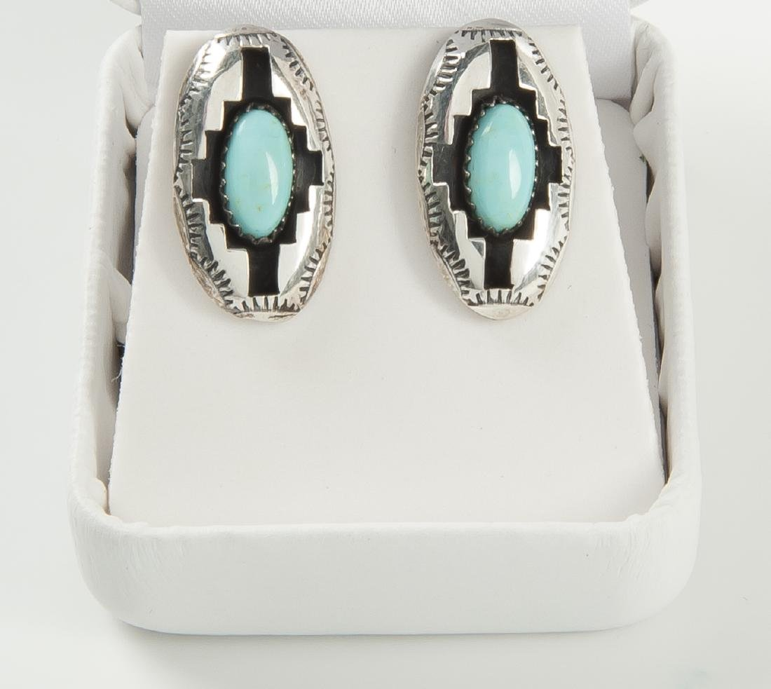 Navajo Sterling Turquoise Necklace & Earrings - 3