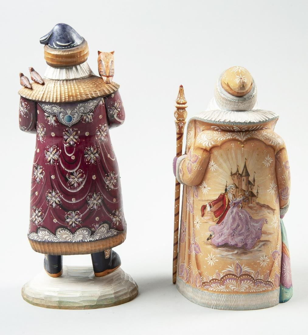 2 Hand Carved & Painted Russian Santa Figurines - 3