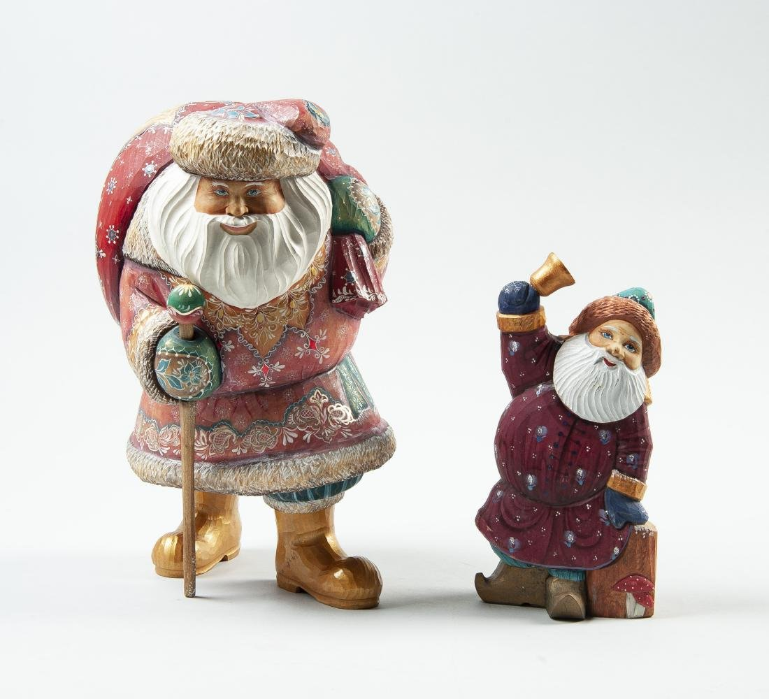 2 Hand Carved & Painted Russian Santa Figurines