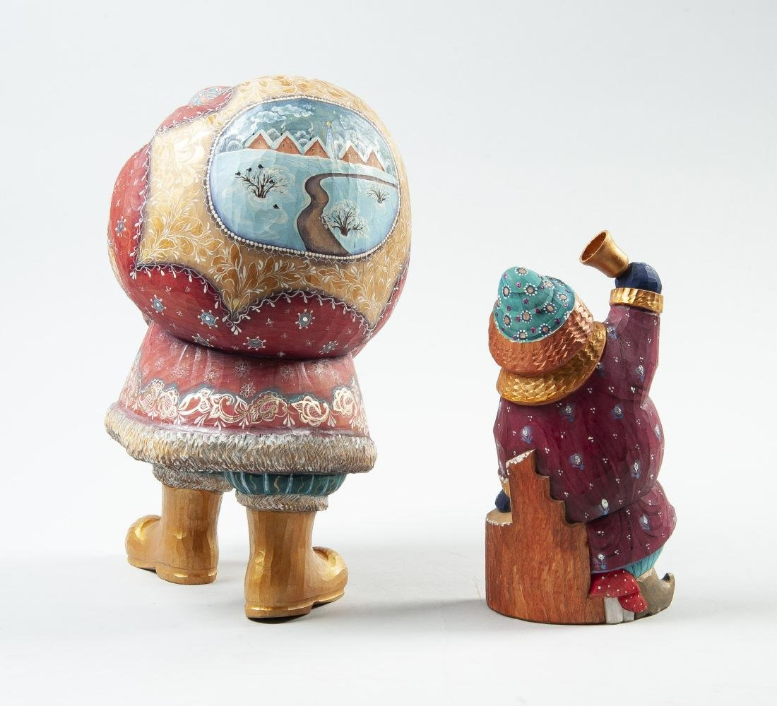 2 Hand Carved & Painted Russian Santa Figurines - 2
